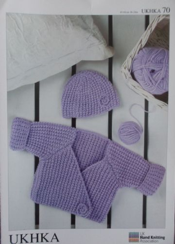 DK Wrap Cardigan and Hat UKHKA 70 , 0-3 months to 3-4 years